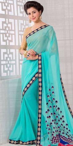 Aquatic Blue Saree With Gorgeous Embroidered Pallu.