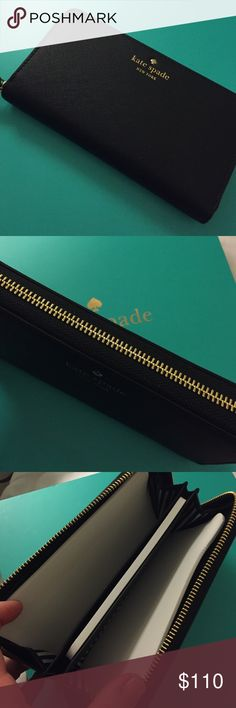 🔸Kate Spade wristlet/wallet NEW LISTING Authentic Gorgeous black wristlet wallet with gold accent kate spade Bags Clutches & Wristlets
