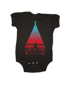 "Our ""My Tribe"" graphic is printed on 100% jersey cotton. This onesie has a soft hand feel, an envelope neck for easy on-and-off, and a 3 snap closure along the bottom. All of our onesies are designed"
