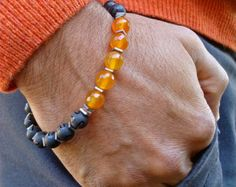Men's Spiritual Bracelet with Black Wood Red Coral by tocijewelry