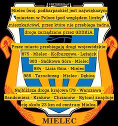 Mielec (woj. podkarpackie) jest największym miastem w Polsce (pod względem – Mielec (woj. podkarpackie) jest największym miastem w Polsce (pod względem liczby mieszkańców), przez które nie przebiega żadna droga zarządzana przez GDDKiA.  Przez miasto przebiegają drogi wojewódzkie: 875 - Mielec - Kolbuszowa - Leżajsk 983 - Sadkowa Góra - Mielec 984 - Lisia Góra - Mielec 985 - Tarnobrzeg - Mielec - Dębica  Najbliższa droga krajowa (79 - Warszawa - Sandomierz - Kraków - Chrzanów - Bytom)…