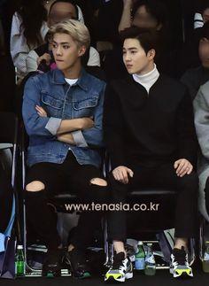 EXO Sehun and Suho at Seoul Fashion Week