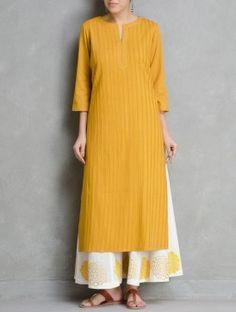 Mustard Pintuck Cotton Kurta by Ruh