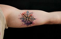 50 Beautiful Compass Tattoo Designs and Meanings Watercolor Compass Tattoo, Compass Rose Tattoo, Compass Tattoo Design, Watercolor Tattoos, Tattoo Abstract, Time Tattoos, New Tattoos, Tattoos For Guys, Sleeve Tattoos