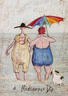 Sam Toft (Midsummer Dip Canvas Print, Multi Coloured, 30 x Painting Prints, Canvas Prints, Art Prints, Owl Paintings, Pour Painting, Whimsical Art, Beach Art, Female Art, Watercolor Art