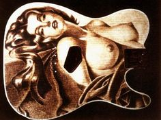 Handmade Pyrography Burned Into A Custom ESP Telecaster Maple Body With Reproduction Of Alberto Vargass Pin Up Girl Airbrush Painting