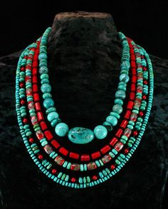 Love. ~Nate Turquoise Multistrand Necklace - Multi Strand - Chunky Turquoise Beaded Necklace - Southwestern Necklace - Southwest Jewelry.