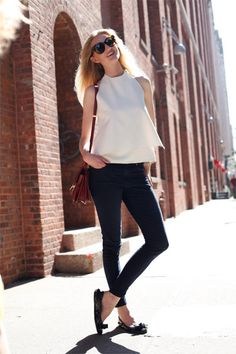 The classic plain white tee and jeans, dressed up! Shop the look on the beso blog.