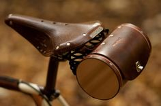 """Bicycle Saddle Bag - """"The Barrel Bag"""" Bicycle Bag - Leather Bicycle Accessories - Arrive in style with the Barrel Bag, a hand-stitched, vegetable-tanned leather seat bag reminiscent - Leather Bicycle, Leather Cord, Leather Craft, Leather Bag, Handmade Leather, Saddle Leather, Tooled Leather, Brown Leather, Bicycle Seats"""