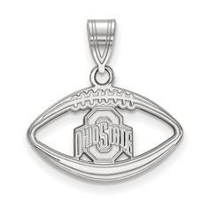 925 Sterling Silver Rhodium-plated Laser-cut California State University Fresno XL Pendant