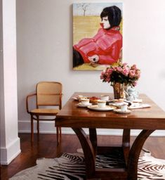 Beautiful colors - Elizabeth Peyton at Sofia Coppolas home.