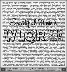Vintage Toledo TV - Vintage Radio Station Print Ads - Beautiful Music is WLQR Stereo 101.5 FM (Sun 3/7/71 ad)