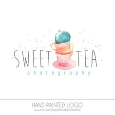 CLEARANCE Watercolor Logo Tea Cup Watermark Business Logo | Etsy