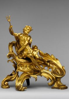 Pair of firedogs (chenets) - Pluto and Proserpina. French, ca 1750, Gilt bronze / MET