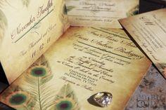 Vintage, Peacock themed Wedding Invitation Suite. $2.75, via Etsy.