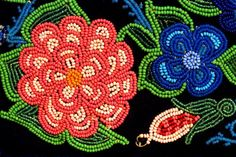 Crop of Womans' beaded legging; Parks Canada Collection