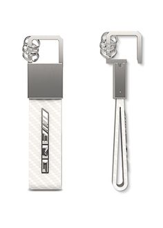 Part number: This sporty, elegant key ring, part of the AMG Collection, is made from white leather with a high-quality carbon leather look. Matt brushed stainless steel and an elegant pull/twist mechanism provide an attractive contrast. Benz Amg, Brushed Stainless Steel, Key Rings, White Leather, Mercedes Benz, Contrast, Sporty, Number, Elegant