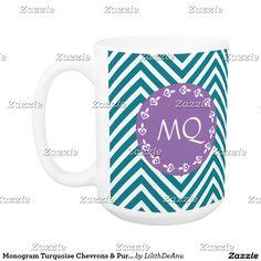 Monogram Turquoise Chevrons & Purple Coffee Mug