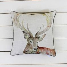 Gregor Stag Cushion - Voyage Maison at Lily and Moor Country Cushions, Funky Cushions, Throw Cushions, Stag Cushion, Barker And Stonehouse, Cushions Online, Crafts Beautiful, Winter Warmers, The Ranch