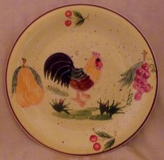 Folk painted Rooster decorative plate chicken hen poultry wall hanging china