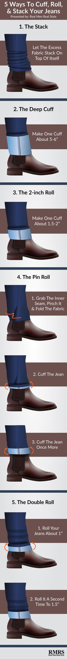 The Right Way To Cuff Jeans Infographic is part of Cuffed jeans - This infographic walks you through 5 easy ways to cuff, roll and stack your jeans Make your denim more stylish! Casual Outfits, Men Casual, Fashion Outfits, Moda Indie, Look 2015, Style Masculin, Herren Outfit, Cuffed Jeans, Denim