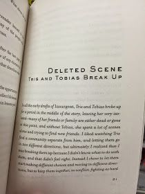 This deleted scene is included exclusively in the paperback edition of Insurgent  sold by Target ( online  and in stores).   I took photos...