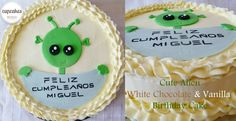 Cute Alien White Chocolate & Vanilla Birthday cake