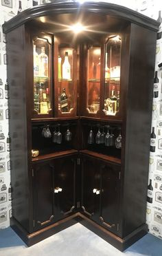 Corner Curio Bar Cabinet Furniture & Bar cabinet with brilliant concept suitable to any dining or entertainment area. Corner Home Bar, Corner Bar Cabinet, Corner Curio, Home Bar Cabinet, Bar Cabinet Furniture, Home Bar Furniture, Furniture Decor, Home Bar Rooms, Home Bar Decor