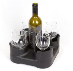 Lowest Prices for the best rv kitchen from Heininger Holdings. DestinationGear BevBase Drink Holder - 1 Bottle and 4 Glasses part number HE1190 can be ordered online at etrailer.com or call 800-298-8924 for expert service.
