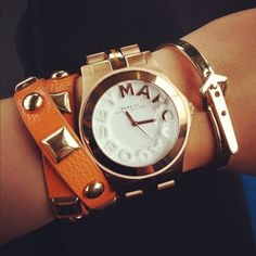 Marc by Marc Jacobs Watch Layer up your wrist with some heavy duty hardware, perfect to team with a man-style watch. Marc by Marc Jacobs Marc Jacobs Uhr, Marc Jacobs Watch, Looks Style, My Style, Jewelry Accessories, Fashion Accessories, Watch Accessories, Couture Accessories, Fashion Jewelry