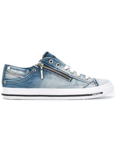 Shop Diesel denim lace up sneakers.