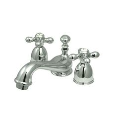 Found it at Wayfair - Restoration Double Handle Mini Widespread Bathroom Sink Faucet with Brass Pop-up