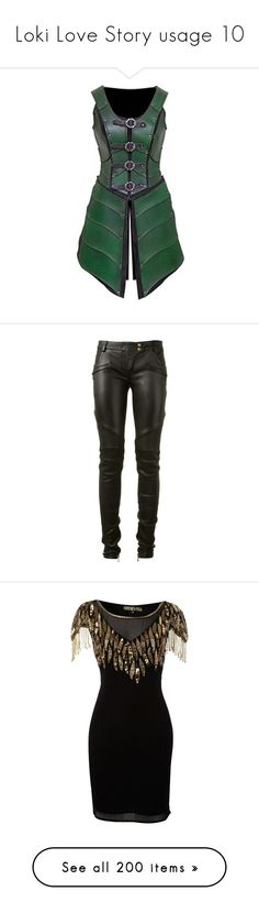 """Loki Love Story usage 10"" by ffirnbach ❤ liked on Polyvore featuring armor, pants, jeans, genuine leather pants, balmain pants, zipper pocket pants, bike pants, real leather pants, dresses and vestidos"