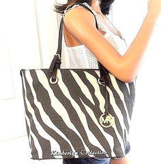 Michael Kors Zebra Print Shoulder Travel Tote Bag Purse White Brown NWT #MichaelKors #TotesShoppersShoulderBag