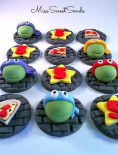 Ninja Turtle Toppers - Cupcake Toppers -  Turtle Toppers...$23