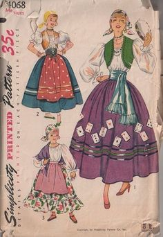 Gypsy Peasant Costume Pattern Simplicity 4030 Bust 30 32 Womens Vintage Sewing Pattern Misses Blouse Bolero Dirndl Skirt Apron UNCUT Gypsy Costume, Costume Dress, Devil Costume, Costume Makeup, Vintage Outfits, Vintage Costumes, Sewing Patterns Girls, Vintage Patterns, Paper Patterns