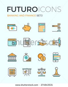 Line icons with flat design elements of money savings and finance tools, banking services, financial management items, business accounting. Modern infographic vector logo pictogram collection concept. - stock vector