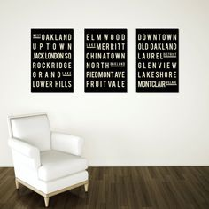 Oakland Art, Typography Poster, Christmas, Gift for the Home, Nursery, Kitchen, for Him, for Her, Wall Art, Set of 3