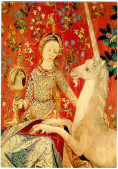 """Textile depicted within a textile - Unicorn tapestry - unicornio, """"El bestiario medieval"""" Medieval Tapestry, Medieval Art, Unicorn Tapestries, Renaissance Kunst, The Last Unicorn, Great Works Of Art, Late Middle Ages, Unicorn Art, Tapestry Weaving"""