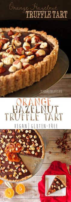 This decadent Orange Hazelnut Truffle Tart is sure to please everyone! Vegan & Gluten-free and 100% delicious. Click the photo for the full recipe.