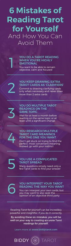 Numerology Spirituality - Divination: 6 Mistakes of Reading #Tarot for Yourself and How You Can Avoid Them. Get your personalized numerology reading