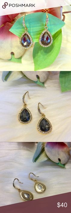 🇺🇸SALE🇺🇸 Swarovski Crystals Gray Drop Earrings Absolutely Gorgeous Drop Earrings That Are Perfect For Any Special Occasion!! Gold Tone, Pierced Ears. Smoky Gray Swarovski Crystal In Center, Surrounded By Little White Crystals. Swarovski Jewelry Earrings