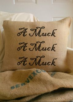"""Burlap Halloween Throw Pillow by Jollydays on Etsy. Of course, the correct spelling of the word in the quote from Hocus Pocus is """"amok"""". """"A muck"""" makes no sense. Burlap Halloween, Halloween Crafts, Holiday Crafts, Holiday Fun, Halloween Party, Halloween Decorations, Halloween Table, Halloween Signs, Vintage Holiday"""