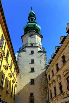 St Michael's Tower In The Old City, Bratislava, Slovakia, Europe by Elenarts - Elena Duvernay photo Bratislava Slovakia, Famous Places, St Michael, Old City, Statue Of Liberty, Travel Photos, Fine Art America, Saints, Old Things
