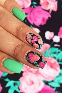 Floral green nails