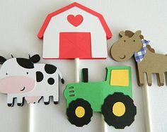 Granja animales Cupcake Toppers granja temática por GreyMonet