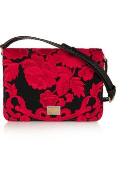 Dolce & Gabbana Ayers-paneled embroidered satin shoulder bag | NET-A-PORTER