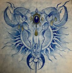 Оригинальный эскиз тату с черепом барана