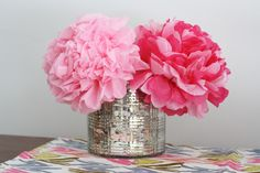Secret: These Peonies Aren't Real! Get the How-To >> http://blog.diynetwork.com/maderemade/2014/03/03/paper-flower-bouquet-peony-diy/?soc=pinterest