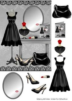 This is an easy step by step decoupage sheet featuring a black dress proudly displayed along with all the other essentials needed to finish off the look. Perfect for all occasions. 3d Paper, Paper Crafts, Free Paper, Image 3d, Etiquette Vintage, Decoupage Printables, 3d Sheets, Dress Card, 3d Cards